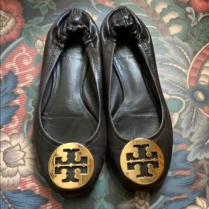 Tory Burch 5 dark brown leather reva flats gold